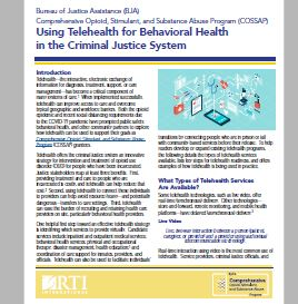 New Release: Using Telehealth for Behavioral Health in the Criminal Justice System